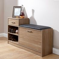 See more information about the Malmo Walnut Finish Shoe Bench With Drawer