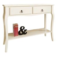 See more information about the Marianne Console Table Cream 1 Shelf 2 Drawer