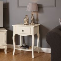 See more information about the Marianne Lamp Table Cream 1 Shelf 1 Drawer