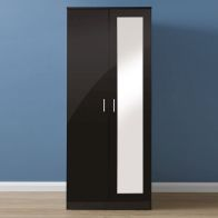 See more information about the Melbourne Wardrobe Black 2 Door With Mirror