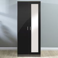 See more information about the Melbourne Wardrobe Black & Walnut Style 2 Door With Mirror