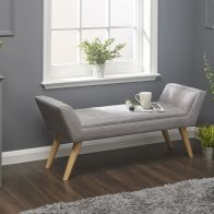 See more information about the Milan Hopsack Fabric Grey Upholstered Bench