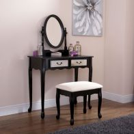 See more information about the Matilda Dressing Table Black & Mirrored 2 Drawer With Stool