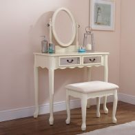 See more information about the Matilda Dressing Table Cream & Mirrored 2 Drawer With Stool