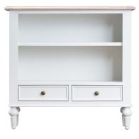 See more information about the Painted Oak Small Wide 2 Drawer 2 Shelf Bookcase