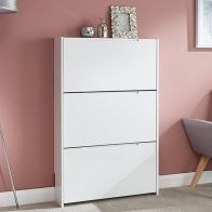 See more information about the Narrow Shoe Cabinets High Gloss 3 Door Shoe Cabinet White