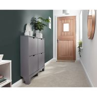 See more information about the Narrow Shoe Cabinets 4 Door Shoe Cabinet Grey