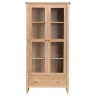 See more information about the Bayview Display Cabinet Oak 2 Door 4 Shelf 1 Drawer With Lights