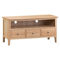 See more information about the Bayview TV Unit Oak 1 Shelf 3 Drawer Large