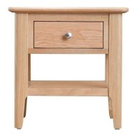 See more information about the Bayview Lamp Table Oak 1 Shelf 1 Drawer