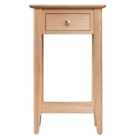See more information about the Bayview Telephone Table Oak 1 Shelf 1 Drawer
