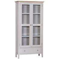 See more information about the Necton Display Cabinet Grey & Oak 2 Door 4 Shelf 1 Drawer