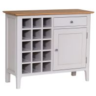 See more information about the Necton Wine Rack Grey & Oak 1 Door 1 Drawer