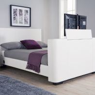 See more information about the Newark Double TV Bed White Faux Leather