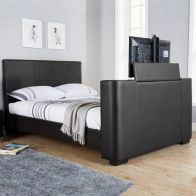 See more information about the Newark King Size TV Bed Black Faux Leather