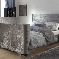 See more information about the Newark King Size TV Bed Grey Crushed Velvet