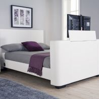 See more information about the Newark King Size TV Bed White Faux Leather
