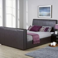 See more information about the Brooklyn PU Leather Double Bed 4ft 6in Brown TV Bed Frame