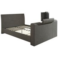 See more information about the Brooklyn Fabric King Size Bed 5ft Charcoal Grey TV Bed Frame