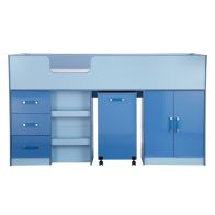 Ottawa 2 Tones Blue Midsleeper Single Bed Unit