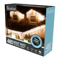See more information about the 480 LED White 11.8m Snowing Icicle Christmas Tree Outdoor Lights