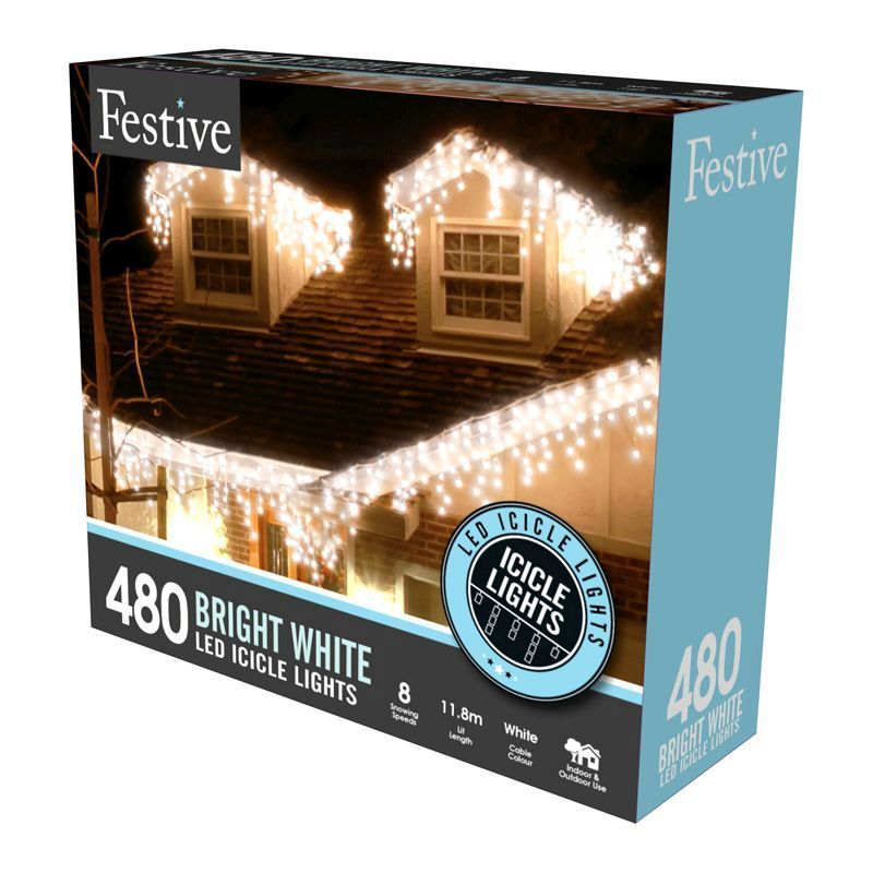 480 Blue and White Bright LED Snowing Icicle Christmas Indoor//Outdoor Lights