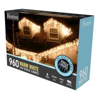 See more information about the 960 LED Warm White 23.8m Snowing Icicle Christmas Tree Outdoor Lights