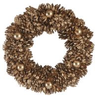 See more information about the Festive Ball & Berries Wreath Gold 30cm