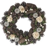 See more information about the Festive Wreath Cream & Gold 30cm