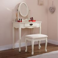 See more information about the Matilda Dressing Table Cream 1 Drawer With Stool