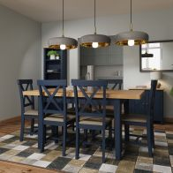 See more information about the Westbridge Light Oak & Blue Extending 1.2 To 1.6M Dining Table