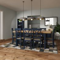 See more information about the Westbridge Light Oak & Blue Extending 1.6 To 2M Dining Table