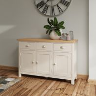 See more information about the Westbridge Light Oak & Dove Grey 3 Door 3 Drawer Sideboard