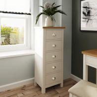 See more information about the Westbridge Light Oak & Dove Grey 5 Drawer Chest Of Drawers