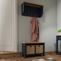 See more information about the Westbridge Light Oak & Blue 5 Peg Coat Rack