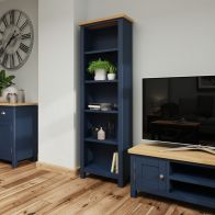 See more information about the Westbridge Light Oak & Blue Bookcase With 5 Shelves