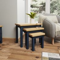 See more information about the Westbridge Light Oak & Blue Nest Of 3 Tables
