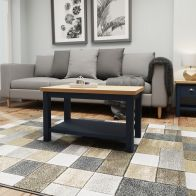 See more information about the Westbridge Light Oak & Blue Coffee Table With 1 Shelf