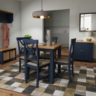 See more information about the Westbridge Light Oak & Blue Fixed Top Dining Table