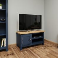 See more information about the Westbridge Light Oak & Blue 1 Door Tv Unit With 2 Shelves