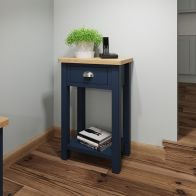 See more information about the Westbridge Light Oak & Blue 1 Drawer Side Table With 1 Shelf