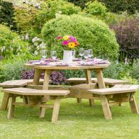 See more information about the Alex Octagon Wooden Garden Picnic Table