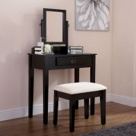 See more information about the Matilda Dressing Table Black & Pine 1 Drawer With Stool