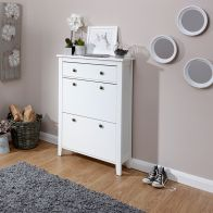 See more information about the Deluxe White Two Tier Shoe Cabinet