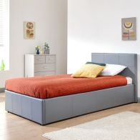 See more information about the Winston Side Lift Single Ottoman Bed Grey Faux Leather