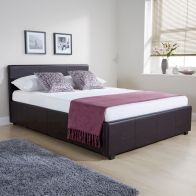 See more information about the Brown Faux Leather Side Lift Ottoman Double 4ft 6in Bed Frame