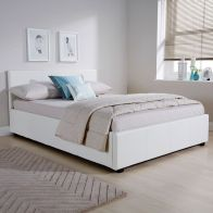 See more information about the White Faux Leather Side Lift Ottoman Queen Size 4ft Bed Frame