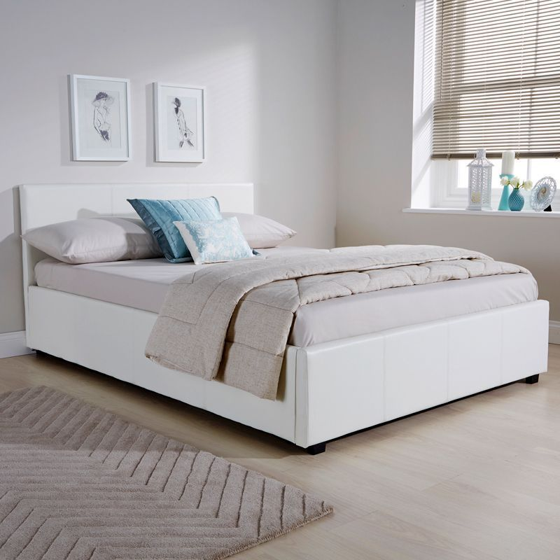 Enjoyable Buy Winston Side Lift Small Double Ottoman Bed White Faux Beatyapartments Chair Design Images Beatyapartmentscom