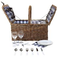 2 Person Traditional Checked Lining Wicker Picnic Basket With Cutlery