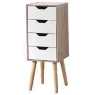 See more information about the Stockholm Slim White & Melamine Finish 4 Drawer Chest of Drawers